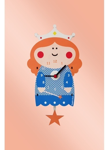 Peoples Clock Prenses Sallanan Sarkaçlı Çocuk Odası Duvar Saati Renkli